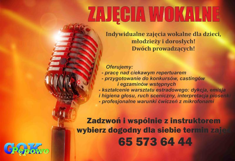 Infomacja o zajęciach wokalnych