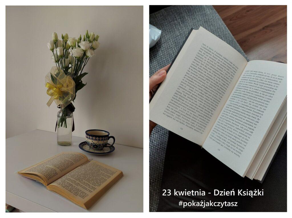 wazon z kwiatami, otwarte książki, filiżanka z motywami kwiatowymi