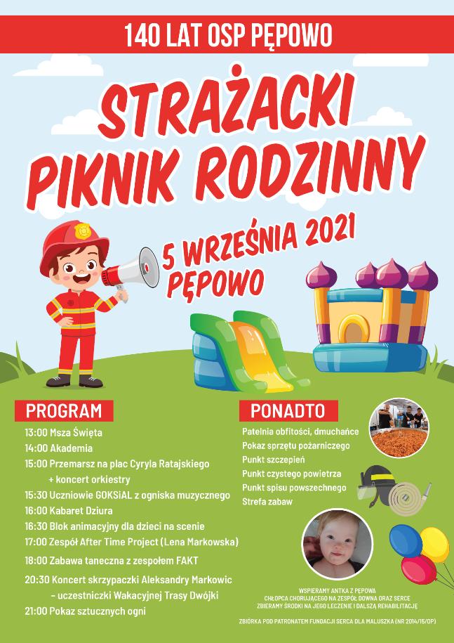 Plakat promujący piknik rodzinny 140 lat OSP Pępowo - strażak z megafonem wzywa do udziału, poniżej program obchodów