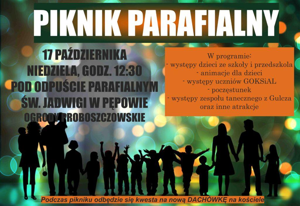 plakat promujący piknik parafialny. Zielone tło, u dołu cienie postaci rodzin z dziećmi